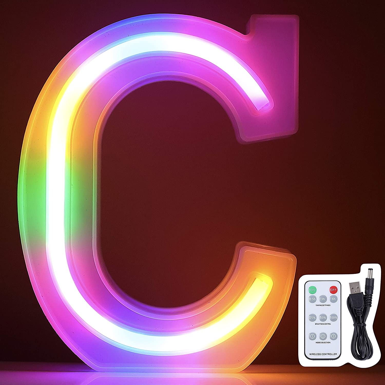Marquee Letter Lights, Colorful Led Neon Signs, Upgrade Remote Control, Wall Decor Lihgt up for Home, Bedroom, Decoration on Wedding, Birthday, Christmas, Confession, Battery/USB Powered (Letter C)