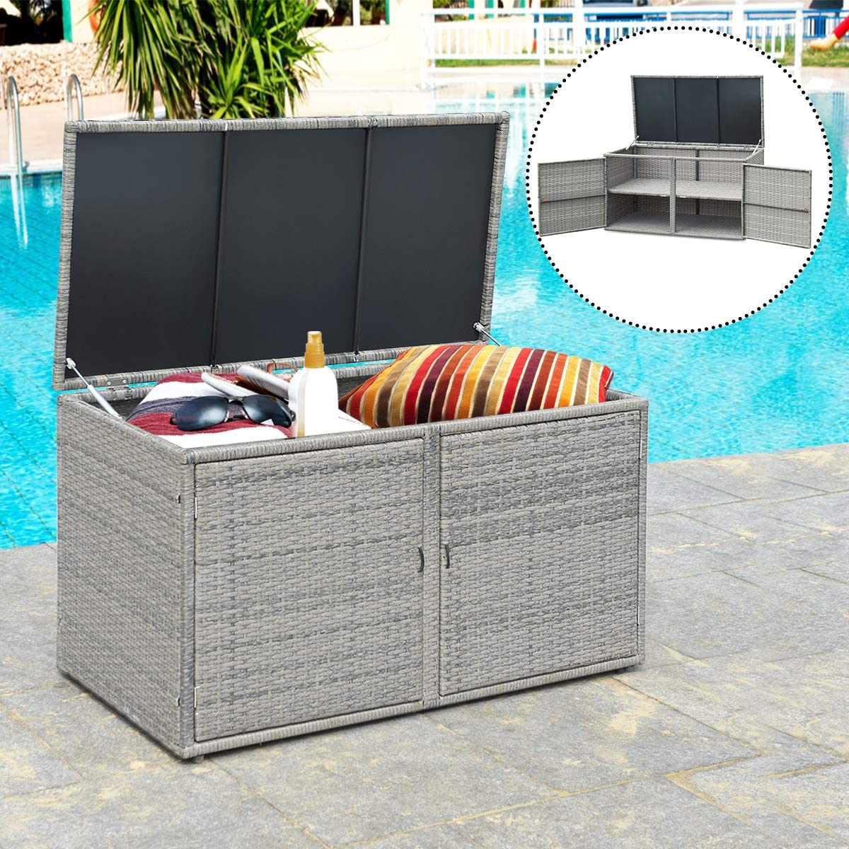 Amazon Com Tangkula Outdoor Wicker Storage Box Garden Deck Bin With Steel Frame Rattan Pool Storage Box With Lid Ideal For Storing Tools Accessories And Toys 88 Gallon Capacity Grey Home Improvement