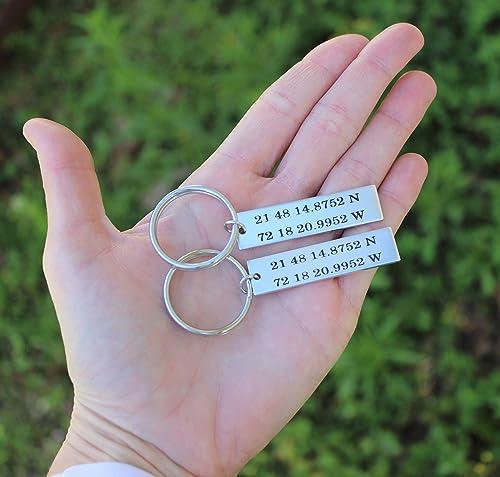 Latitude Longitude Keychain Coordinates Keychain GPS Keychain Personalized Keychain Location Keychain Couples Keychain Anniversary Gift