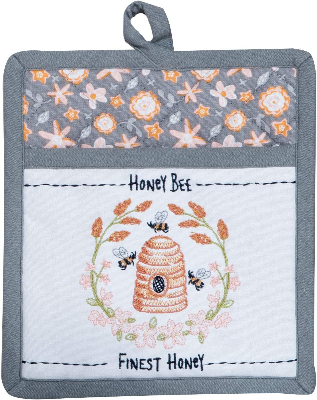 """Kay Dee Designs Bee Inspired Embroidered Pocket Mitt, 8"""" x 10"""", Various"""