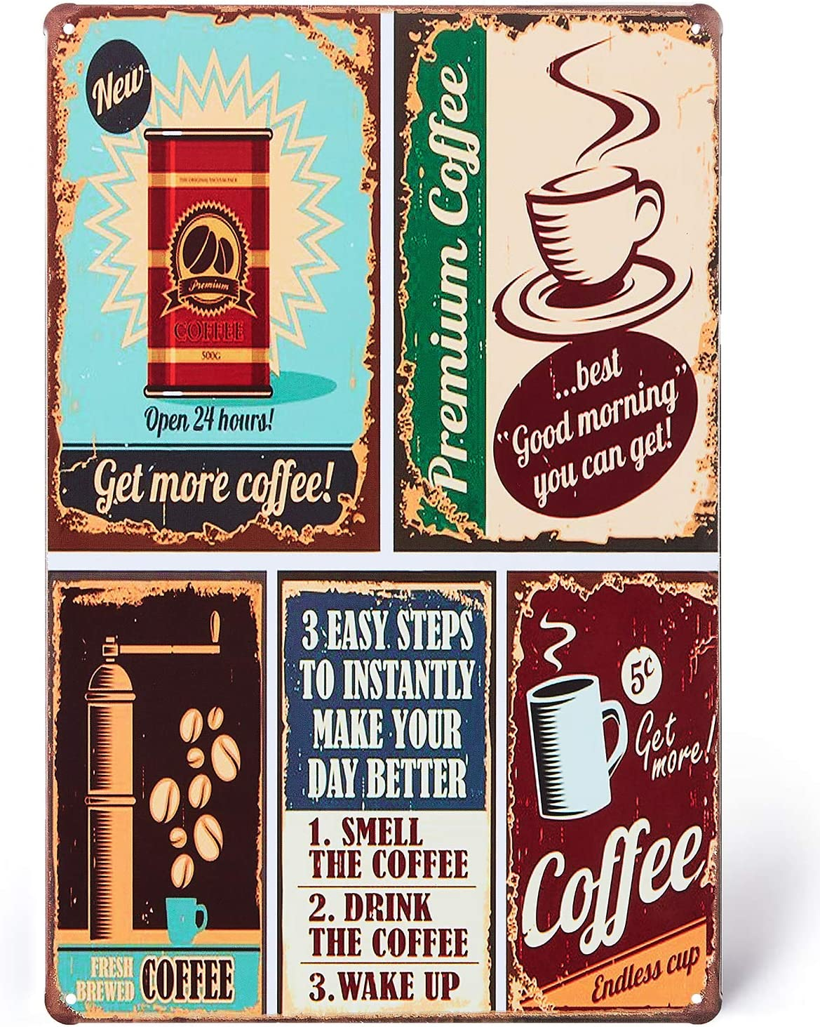 UNIQUELOVER Coffee Signs, Premium Coffee Time Vintage Retro Metal Tin Signs Kitchen Home Bar Decor 8 X 12 Inches, Small