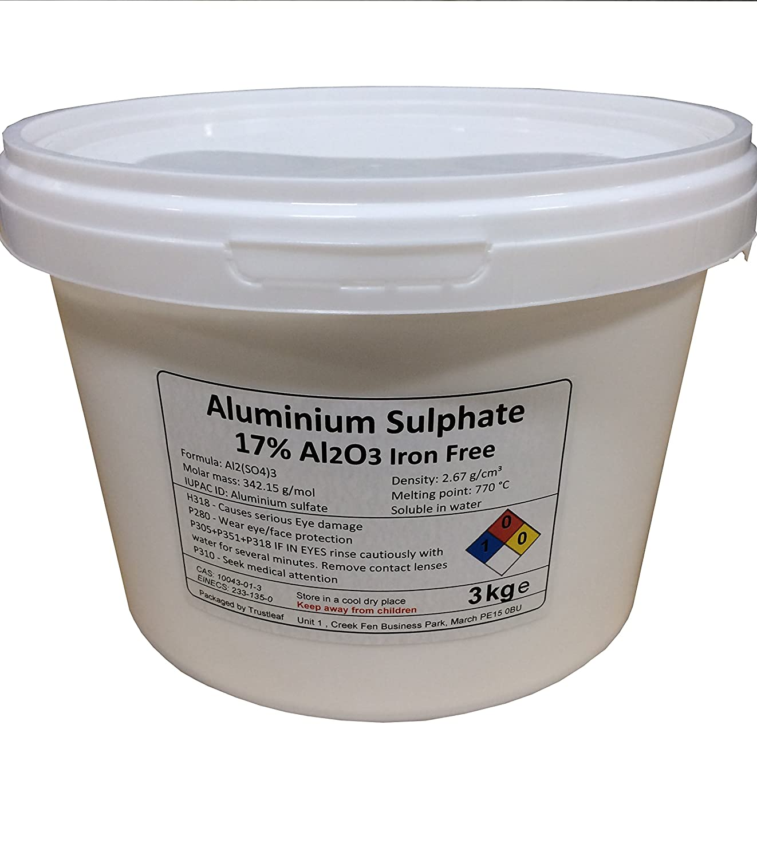 3kg Tub of Aluminium Sulphate Al2(S04)3 Iron Free - Mordant / Purifier / PH reducer Trustleaf
