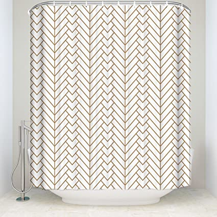 Amazoncom Shower Curtain Natural Herringbone Pattern White Gold