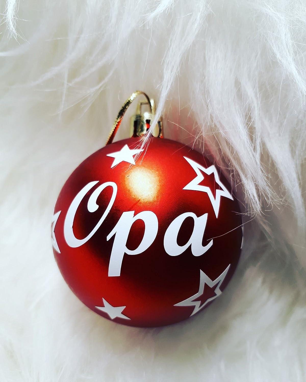 1 Weihnachtskugel personalisiert mit Namen und Sterne in rot matt