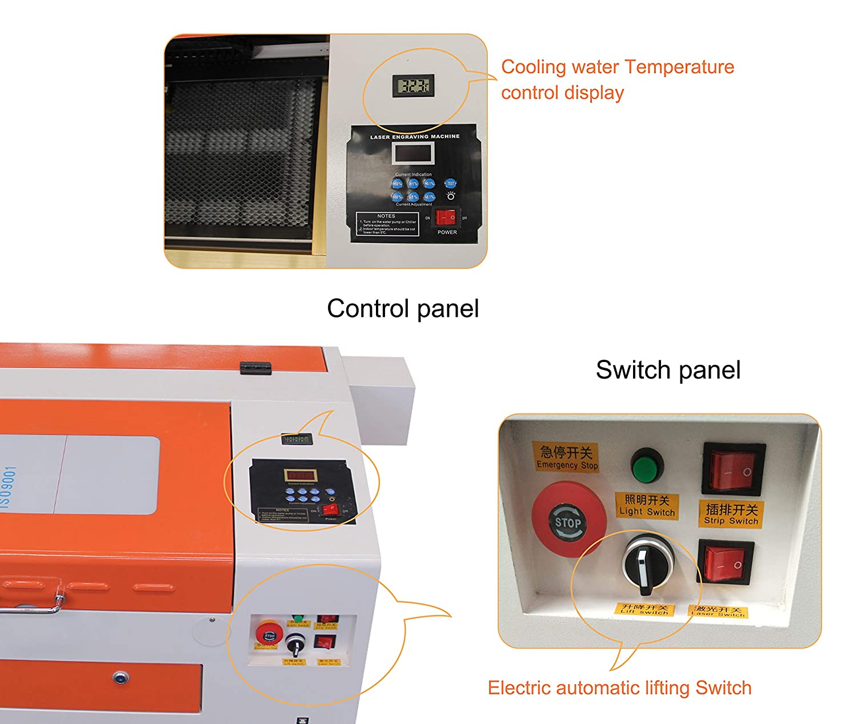 TEN-HIGH CO2 Engraving Machine Orange-White Version. 40W 300x400mm Laser Engraving Machine with Exhaust Fan USB Port
