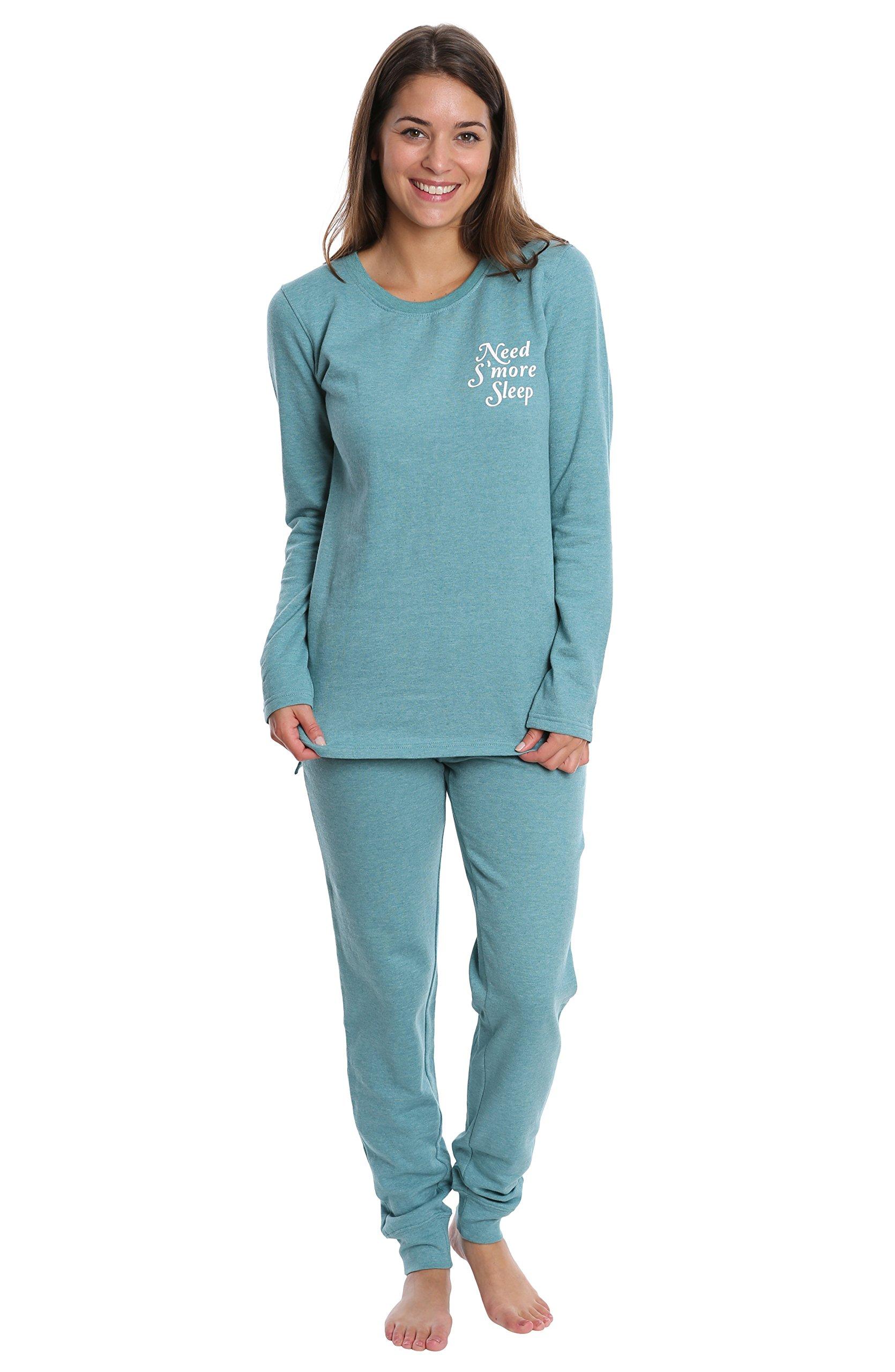 WallFlower Women's Sleepwear Set - Banded Jogger & Lounge Top - Aqua Frost, X-Large