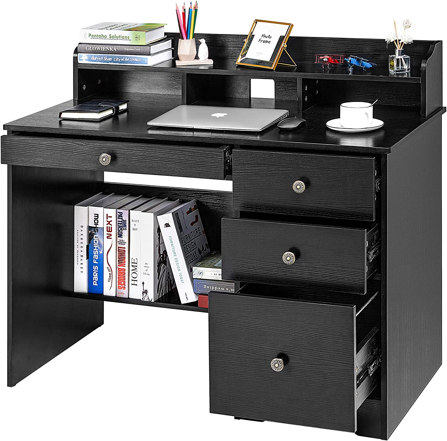 Kealive Computer Desk with 4 Drawers and Hutch Shelf, Wood Frame Home Office Desk with Spacious Desktop, Vintage Style Writing Study Table PC Laptop Notebook Desk, Black