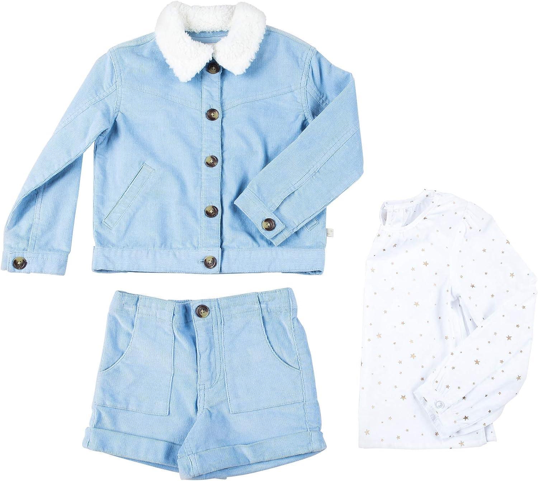 Kinderkind Kids Toddler Girl 3 Piece Soft Corduroy Shorts Set