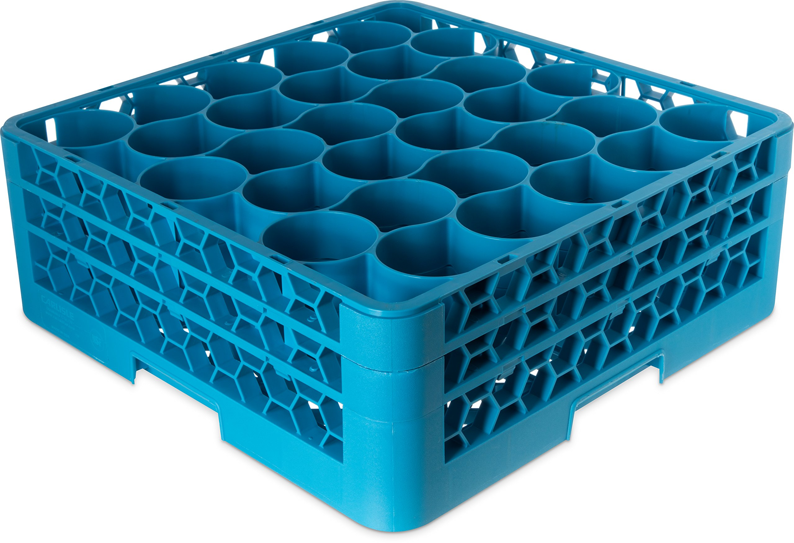 Carlisle RW30-114 OptiClean NeWave Polypropylene 30-Compartment Glass Rack with 2 Extenders, 19-3/4'' L x 19-3/4'' W x 7-1/8'' H, Carlisle Blue (Case of 3) by Carlisle