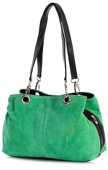 Big Handbag Shop Womens Small Twin Top Multi Zip Pockets Suede Leather  Shoulder Bag (Green - Black Trim)  Amazon.co.uk  Shoes   Bags 8c857e6276ce0