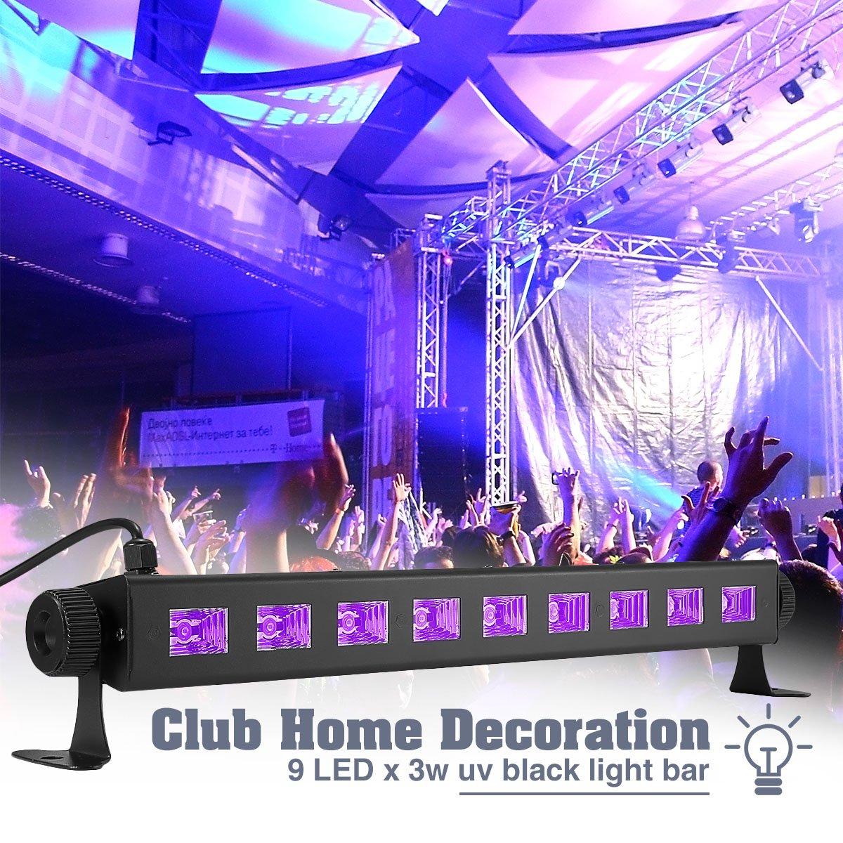 UV Disco Lights, Elfeland 27W 9LED UV LED Bar Black Light Fixture Wall Washer Metallic Blacklight Disco Light Stage Light for Glow Party UV BodyPaint Holiday Disco DJ Poster Tapestry