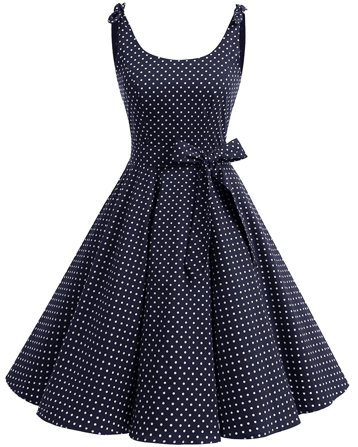 TALLA 3XL. Bbonlinedress Vestidos de 1950 Estampado Vintage Retro Cóctel Rockabilly con Lazo Navy White Dot 3XL