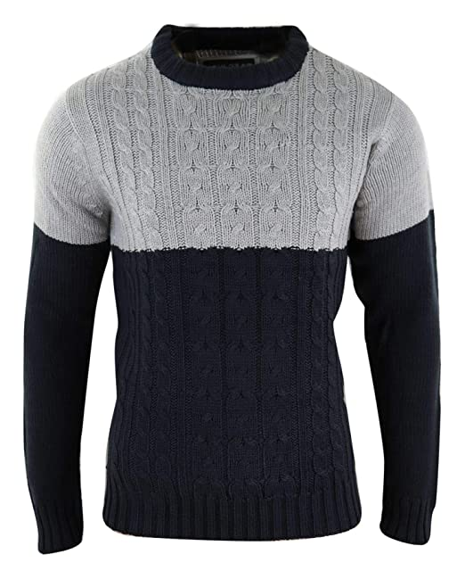 114017409277 Mens Knitted Wool Feel Jumper Chunky Smart Casual Warm Winter Top   Amazon.co.uk  Clothing