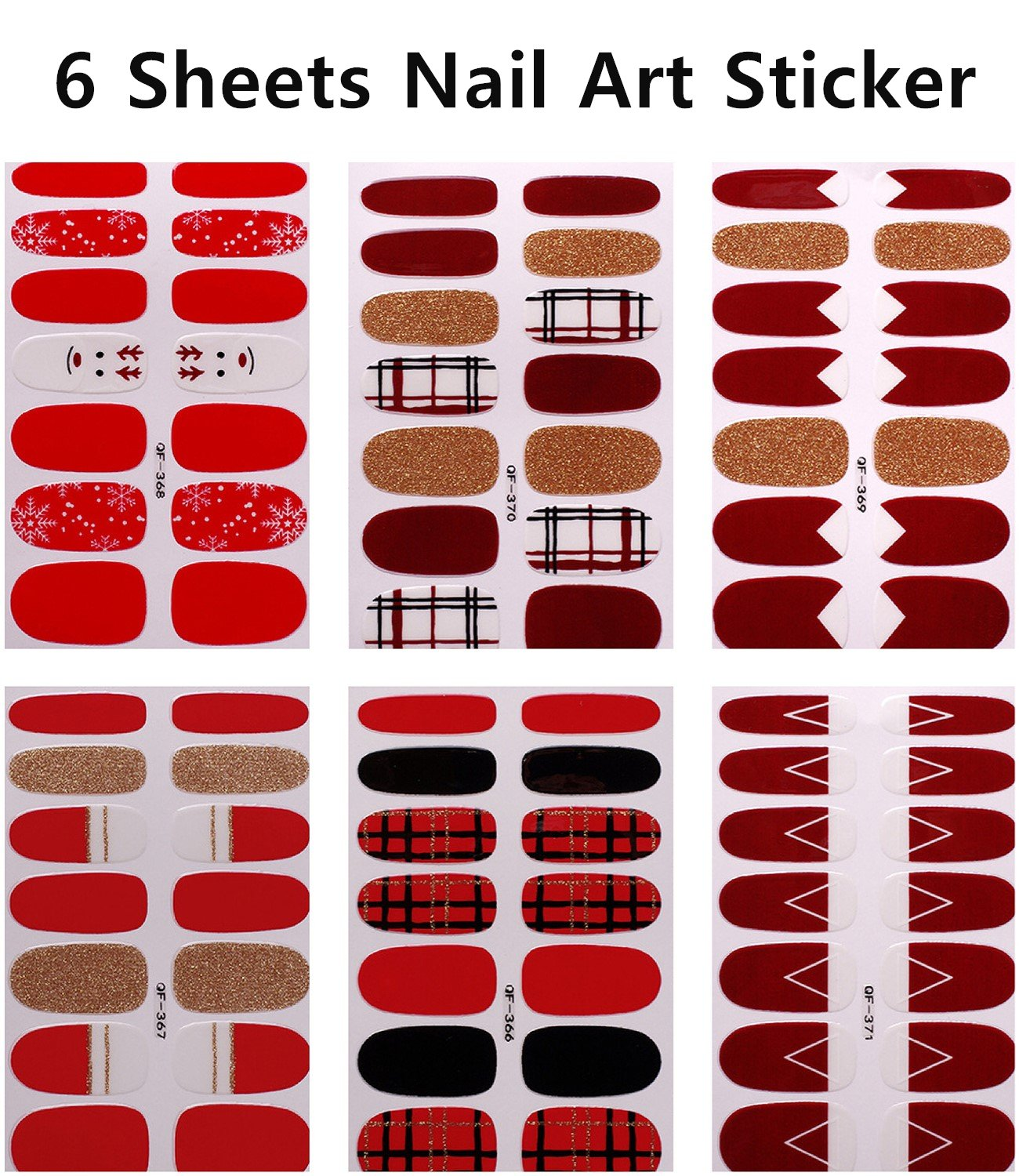 6 Sheets Waterproof Nail Stickers 3D Art Nail Sticker for Women Nail Art Transfer Decals Sticker Glitter Series DIY Nail Polish Strips Wraps for Party (style1)