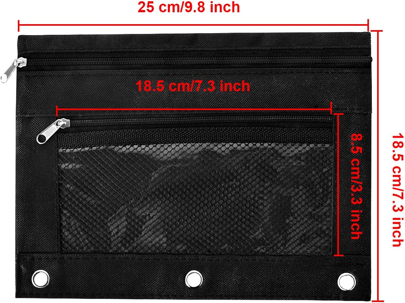 Black 3 TecUnite 3-Ring Pen Pencil Pouch Zipper Pencil Case with Mesh Window for Office Supplies