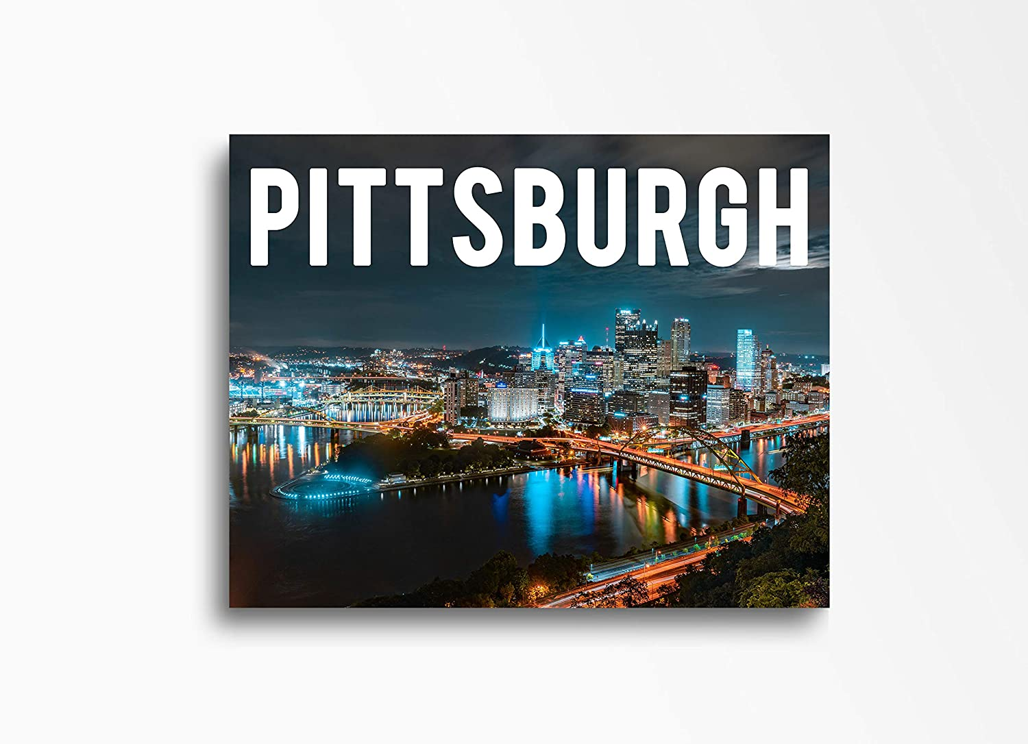 Pittsburgh | 16x20in| Downtown Skyline Canvas Wall Art Home Decor, Great for Kitchen, Living Room, Bedroom & Home Office. Unique Cityscape Canvas Wall Decor Ready to Hang
