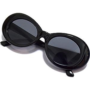 6fd60a9d36 JUSLINK Bold Retro Oval Mod Thick Frame Sunglasses Round Lens Clout Goggles