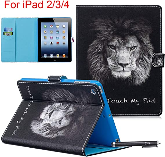Synthetic Leather Magnetic Wallet Case Cover Sleep Wake Stand For iPad 4 3  2