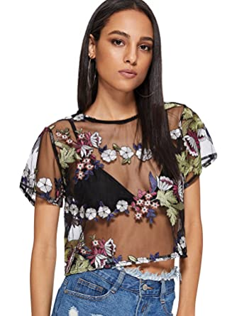 7c1cf82c051655 SweatyRocks Women Short Sleeve Mesh See Through Crop Tops Floral Embroided  T Shirt Blouse Black S
