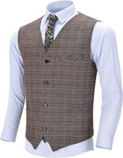 Men's Business Formal Suit Vest V Neck Plaid Wool Slim Fit Casual Tuxedo Waistcoat for Wedding Groomsmen
