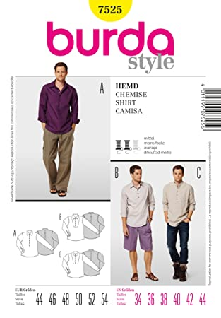 Amazon 7525 Burda Style Mens Shirt Sewing Pattern Sizes 34 36
