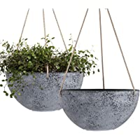 Hanging Planters for Indoor Plants - 10 Inch Flower Pots Outdoor Garden Planters Pots, Rock Grey, Set of 2