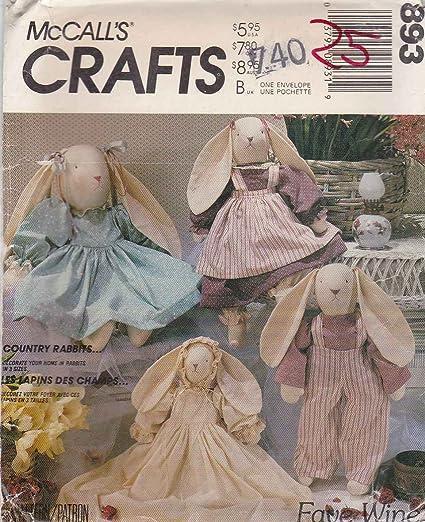 Amazon.com: McCall\'s Crafts Pattern # 3760 ~ Stuffed Country Rabbits ...