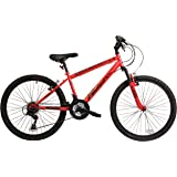 """Falcon Raptor Boys' Mountain Bike Red/Black, 14"""" inch steel frame, 18-speed zoom front suspension forks powerful front and rear v-brakes"""