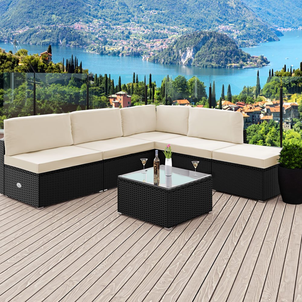 Deuba 6 Piece Poly Rattan Garden Furniture Set   7cm Thick Cushions   Black Outdoor  Patio