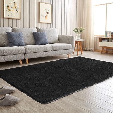 black bedroom rug. Aicehome Area Rug,Soft Bedroom Rug,Fluffy Thicken Anti-slip Bottom For Home Black Rug O