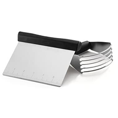 Spring Chef Dough Blender Stainless Steel Pastry Cutter Set - Multipurpose Bench Scraper - Great as Dough Cutter for Pastry Butter and Pizza Dough - Smooth Baking Dough Tools