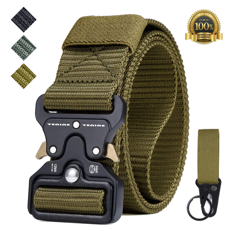 Tenine Cobra Buckle Belt, 1.5 Inch Tactical Heavy Duty Belt Nylon Military Style Belt with Quick-Release Metal Cobra Buckle for EDC Molle Equipment