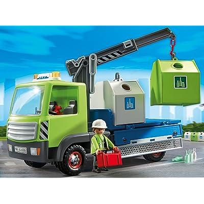 Playmobil - Camión de residuos con contenedores para el Vidrio (6109): Juguetes y juegos