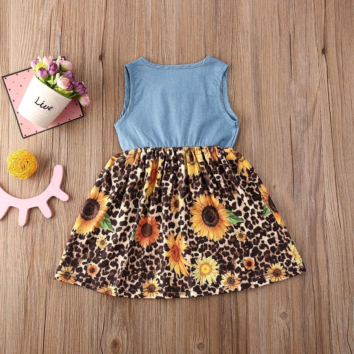 ICECTR Toddler Baby Girls Sunsuit Sleeveless Ruffled Denim Vest Tops Sunflower Print Tutu Dress Princess Summer Outfits