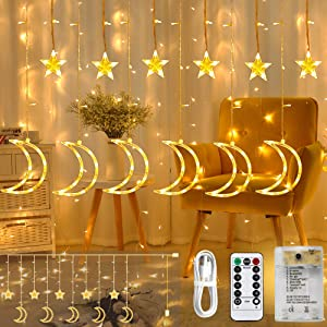 Areskey Star Moon Curtain Lights, 138 LED Moon Star Christmas Lights, Star Light Decoration Wedding Christmas Tree Party Garden Indoor Outdoor,Moon Lights USB Battery Operated,8 Modes RemoteWarm White