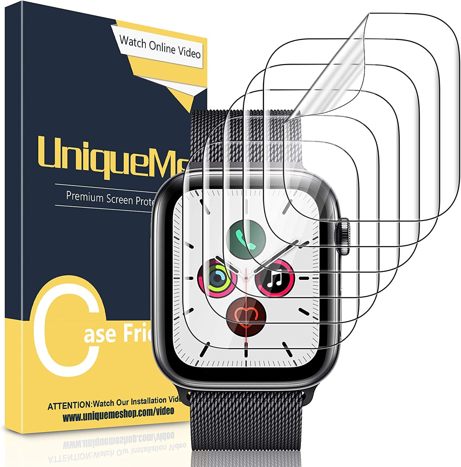 [ 6 Pack] UniqueMe Screen Protector for Apple Watch SE/Series 6 / Series 5 / Series 4 40mm [Bubble Free]?Anti-Scratch Waterproof TPU Soft Flexible Film?for Apple Watch Series 6 40MM