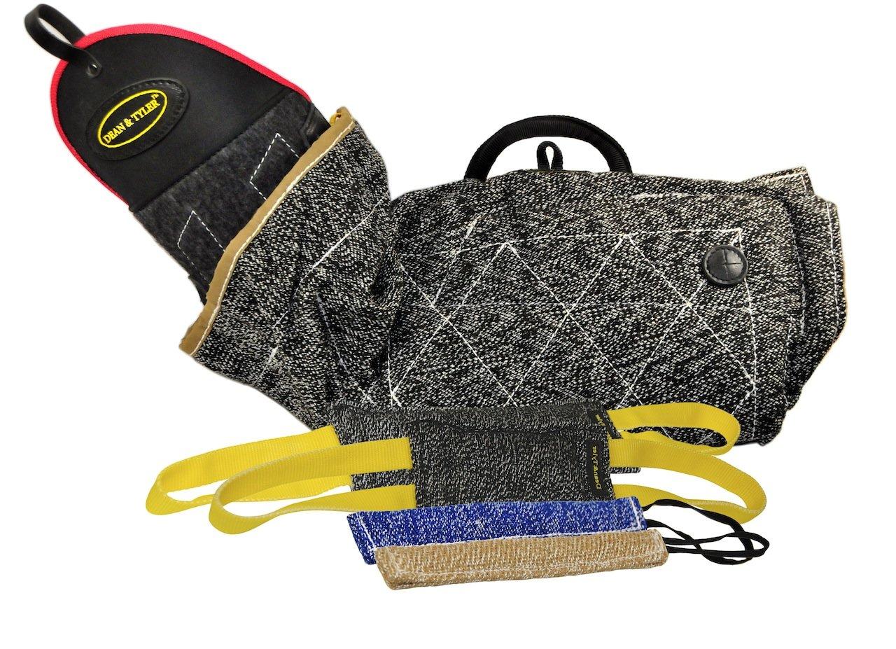 Dean & Tyler 5-Piece Professional Training Bundle Set for Dogs with 1 Intermediate Sleeve/2 Pocket Tugs/1 Small Tug/1 Medium Tug