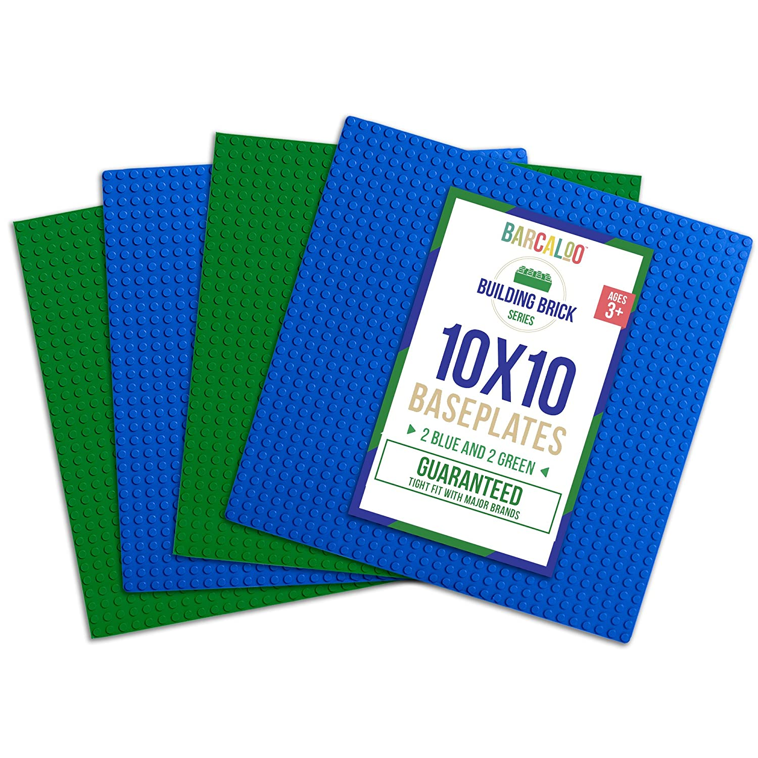 10 Inch x 10 Inch Baseplate for Building Bricks - 4 Pack (2 Blue, 2 Green) Compatible with all Major Brands Review