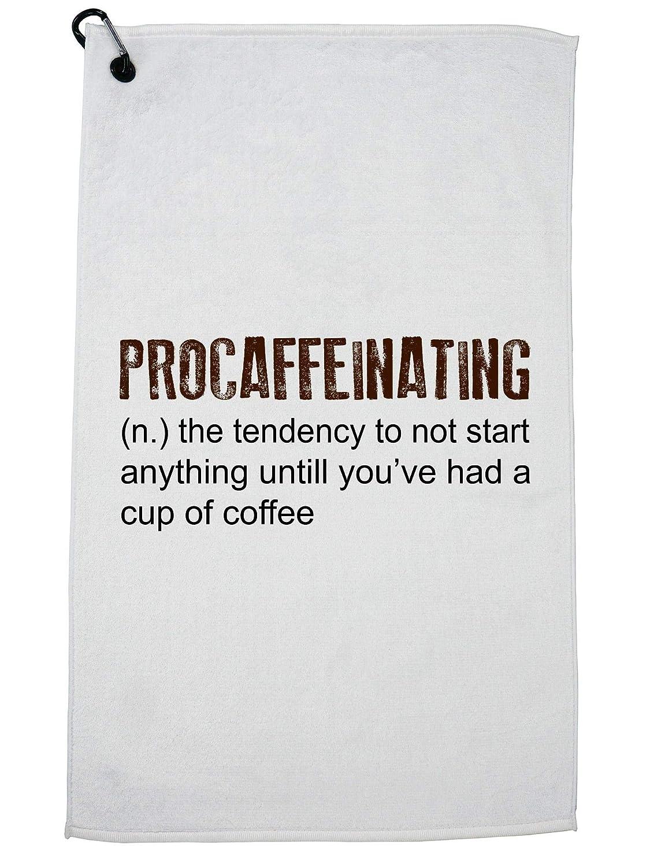 Hollywood Thread Procaffeinating - Coffee First Funny Definition ゴルフタオル カラビナクリップ   B07GBK26YP