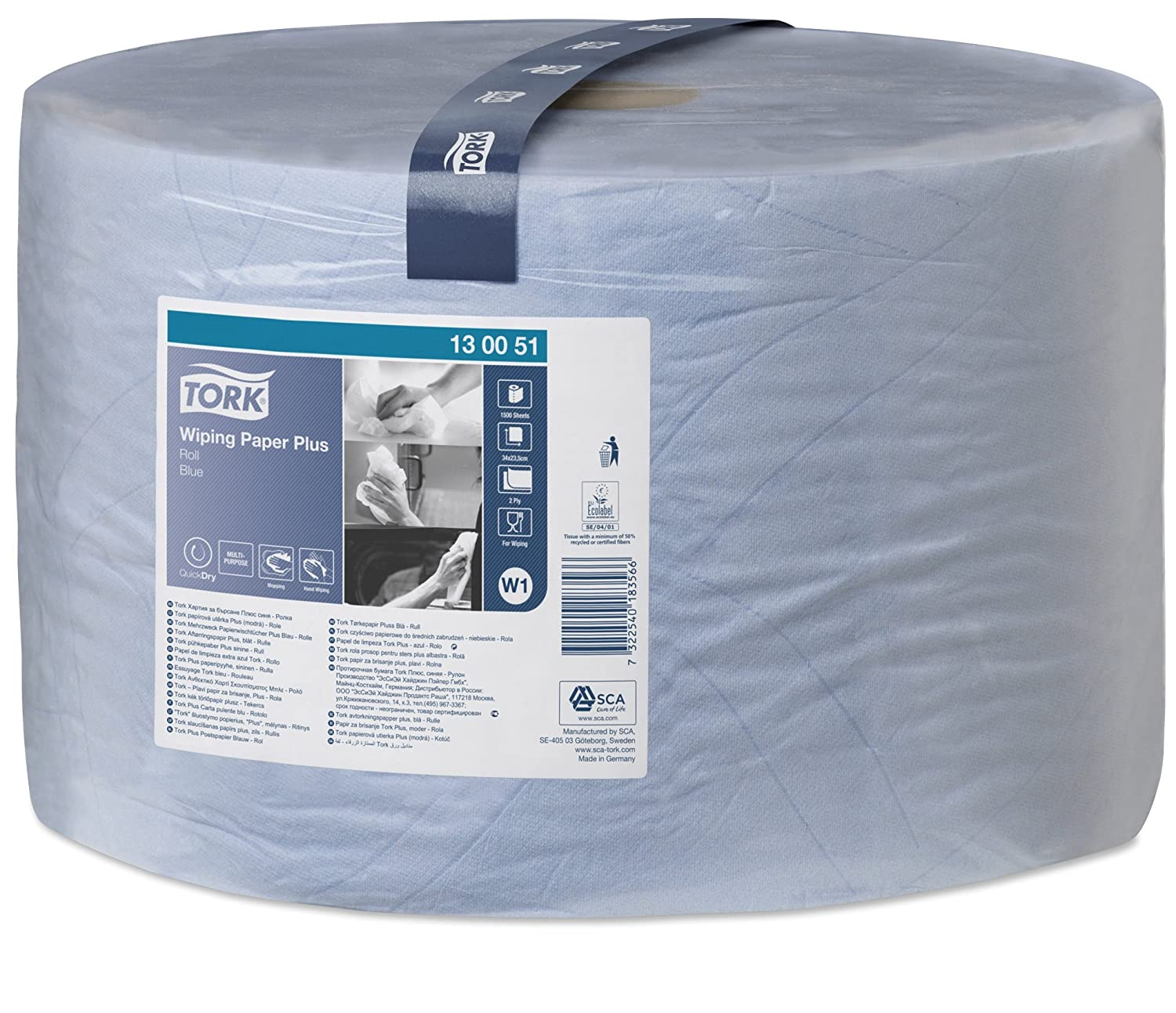 Tork 130051 Wiping Paper Plus / 2 Ply Absorbent QuickDry Paper Roll Suitable for Tork W1 Wipers Wall/Floor/Standard System/Blue / 1 x 510m / Ø 39cm