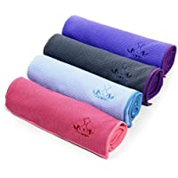 Heathyoga Anti-Rutsch Yoga-Matte Handtuch, rutschfest (Wet Grip)- hohe Bodenhaftung (Silikonbeschichtung), ideal für Hot Yoga, Ashtanga