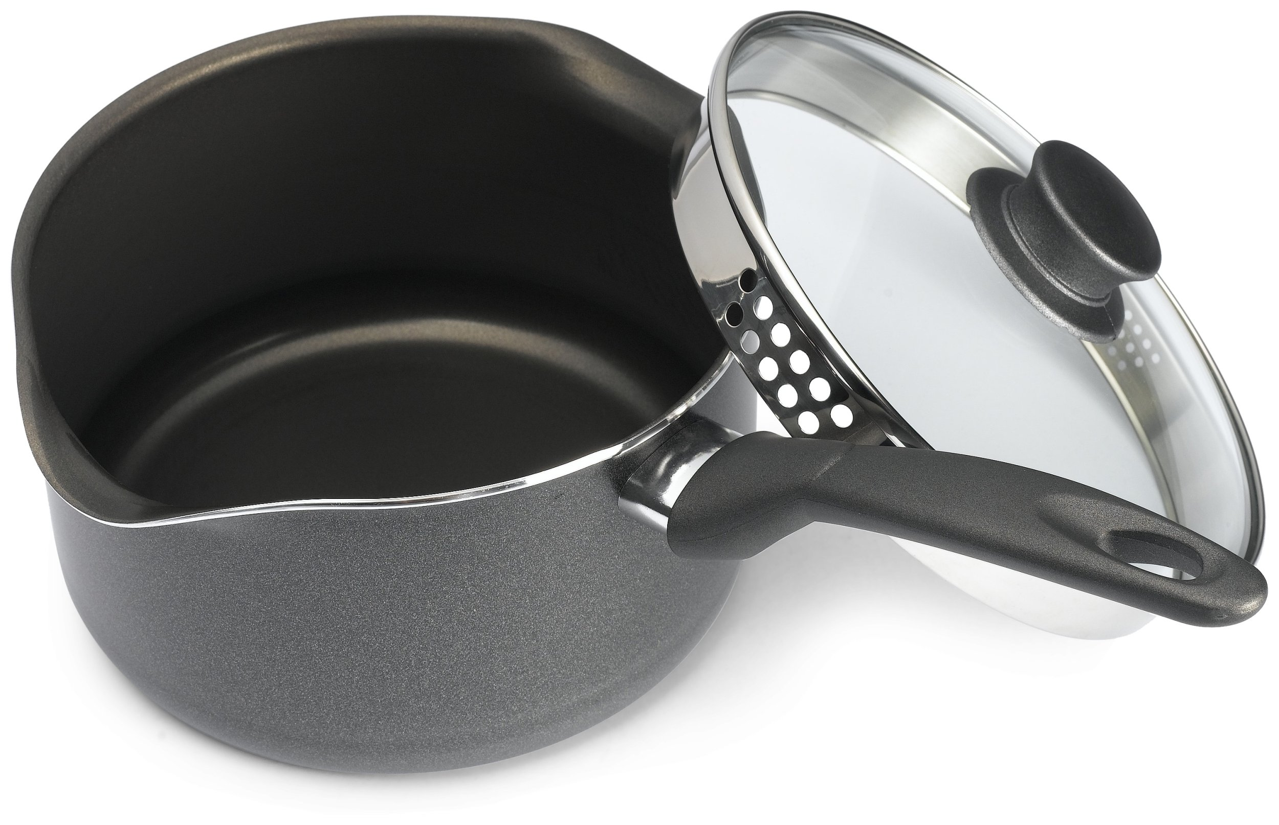 Bialetti 6163 Italian Collection Covered Sauce Pan, 3 Quart, Charcoal