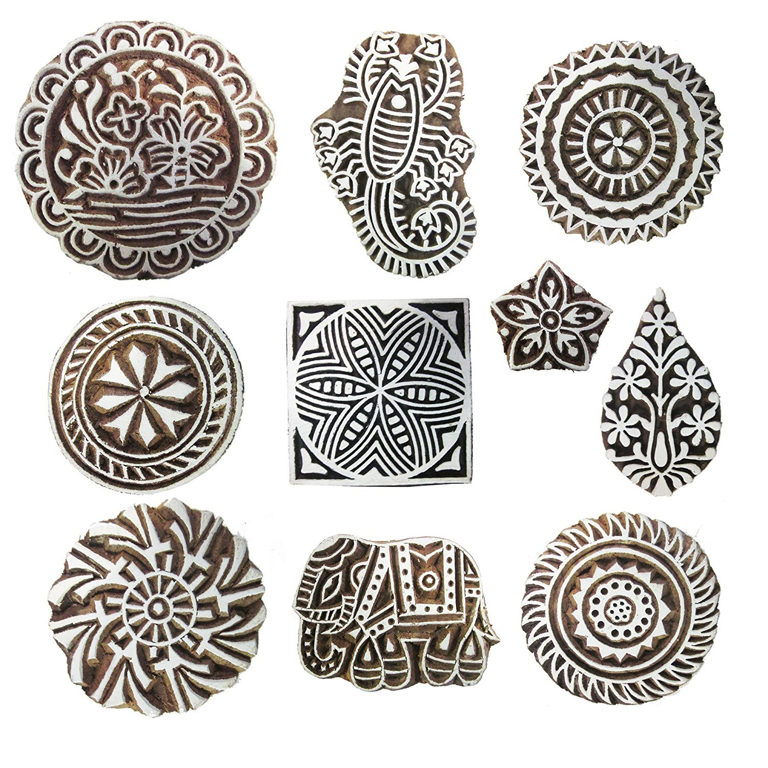 Hashcart Printing Stamp Mughal Design Wooden Blocks (Set of 6) Hand-Carved for Saree Border Making Pottery Crafts Textile Printing IK-BOOTI-SET-1111(6)