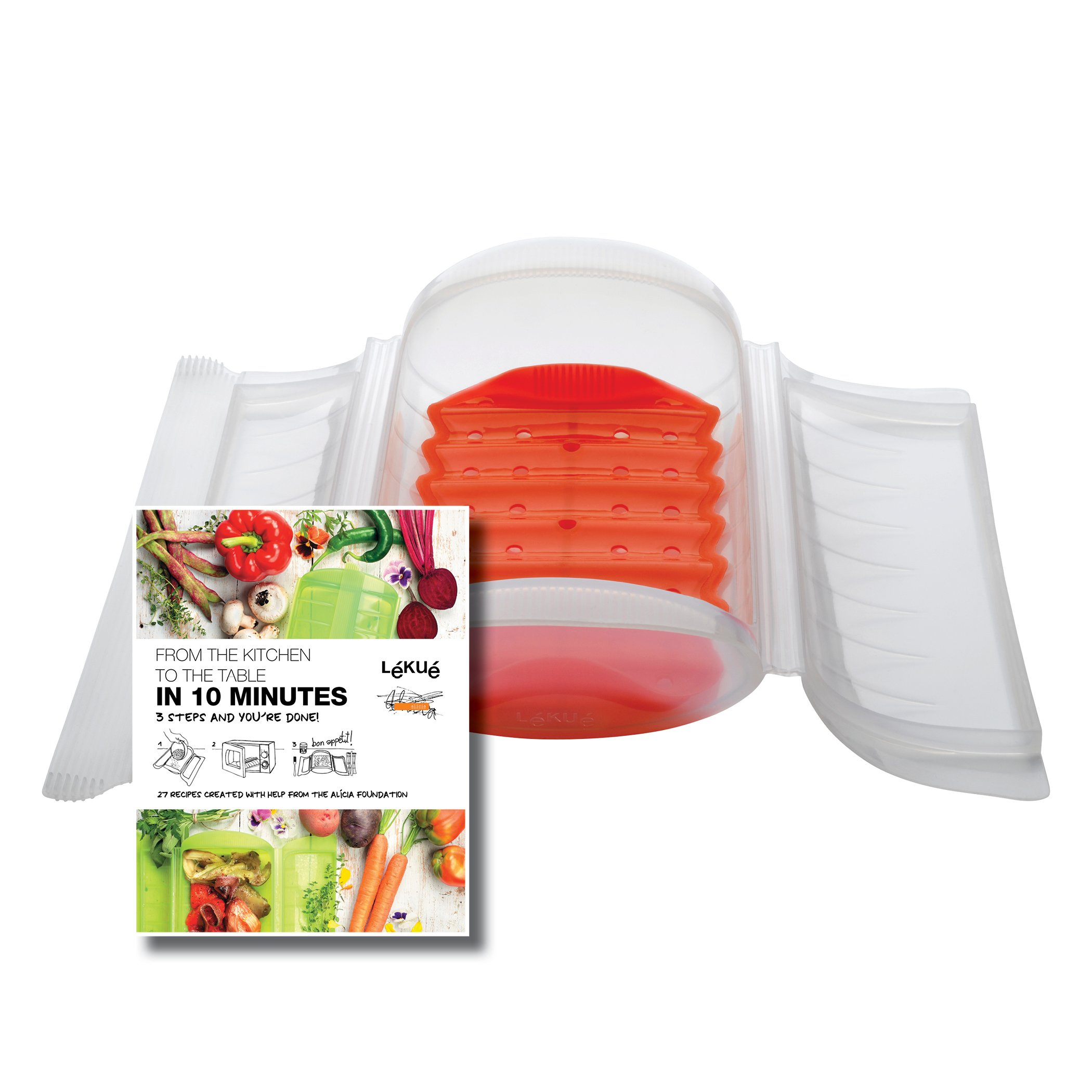 Lekue 3-4 Person Steam Case With Draining Tray and Bonus 10 Minute Cookbook, Clear