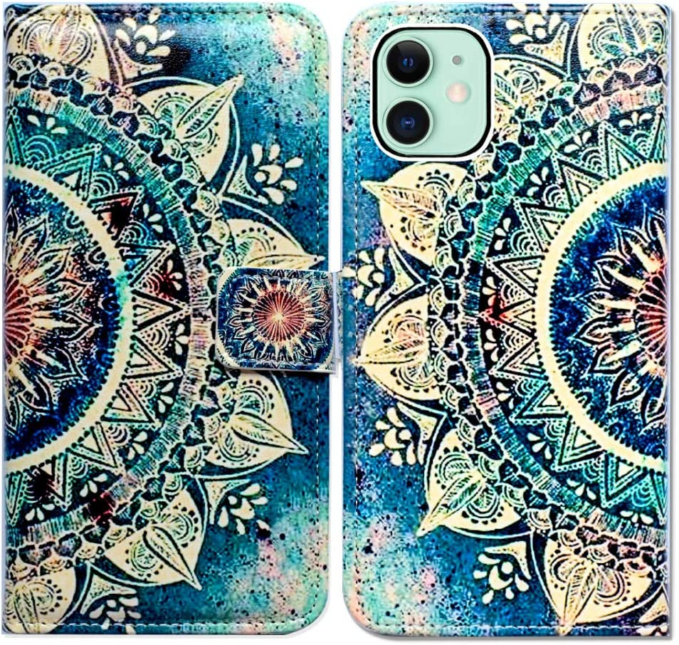 Bcov iPhone 11 Wallet Case, Green Circular Mandala Flip Leather Case Wallet Cover with Kickstand and Card Holder Slots Side Pocket Magnetic Closure for iPhone 11