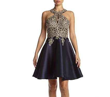 Xscape Womens Short Fit and Flair Party Dress, Navy/Gold, ...