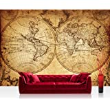 """Photo wallpaper - world map atlas old - 118.1""""W by 82.6""""H (300x210cm) - Non-woven PREMIUM PLUS - VINTAGE WORLD MAP - Wall Decor Photo Wall Mural Door Wall Paper Posters & Prints"""
