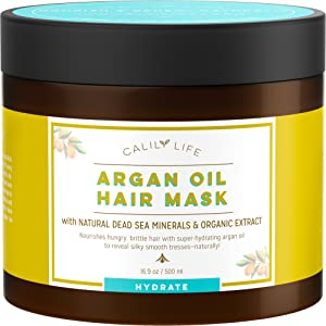 Calily Life Organic Moroccan Argan Oil Hair Mask with Dead Sea Minerals, 17 Oz.