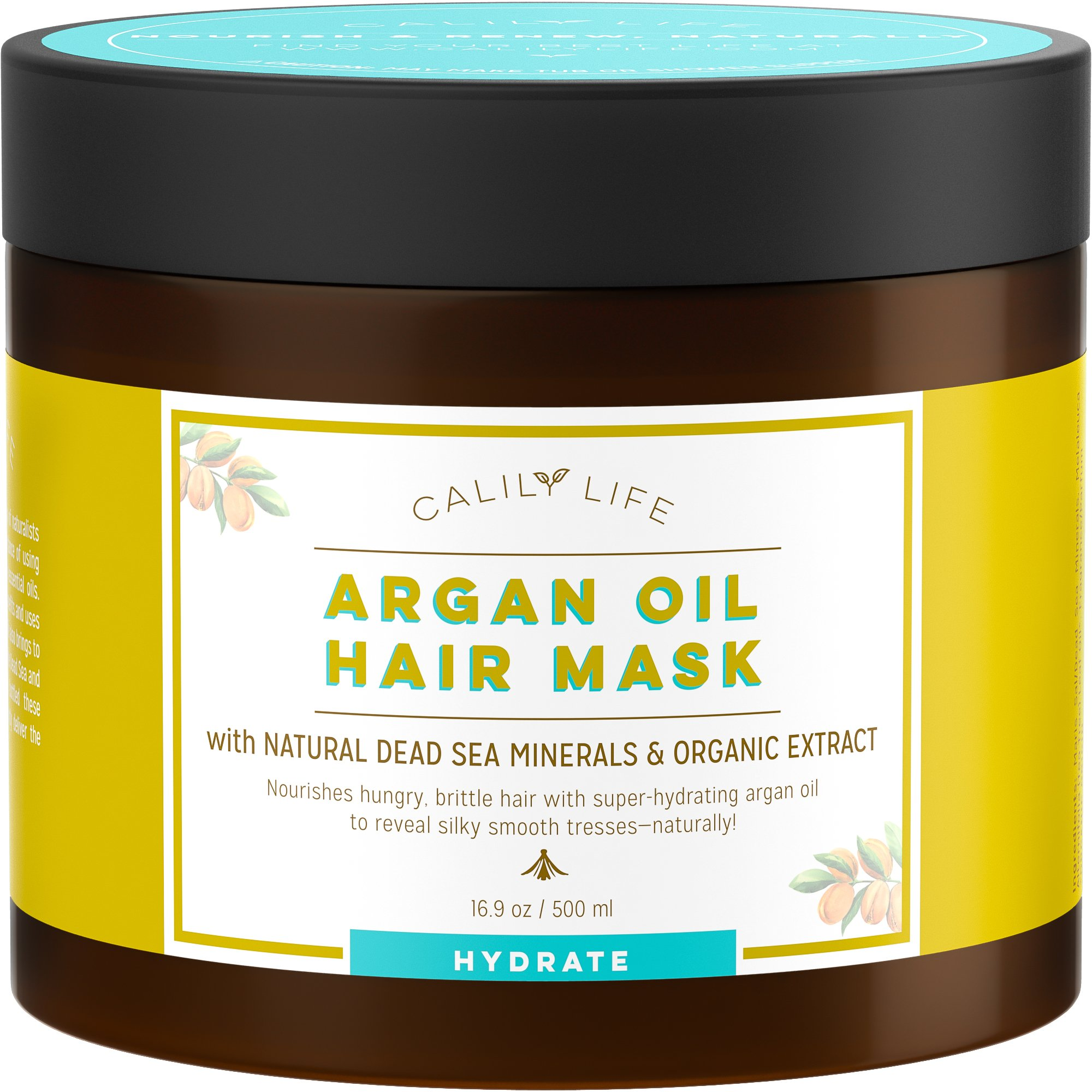 Calily Life Organic Moroccan Argan Oil Hair Mask with Dead Sea Minerals, 17 Oz.-Deep Conditioner and Nourishing - Detoxifies, Softens, Strengthens & Shines – Promotes Healing and Natural Hair Growth by Calily