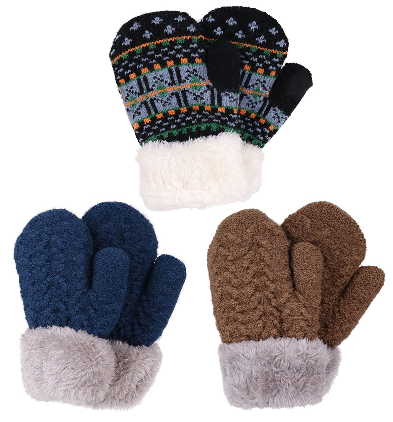 3 Pairs Boys Sherpa Lined Winter Knit Mittens, Mocha+Navy+Fair Isle/Black